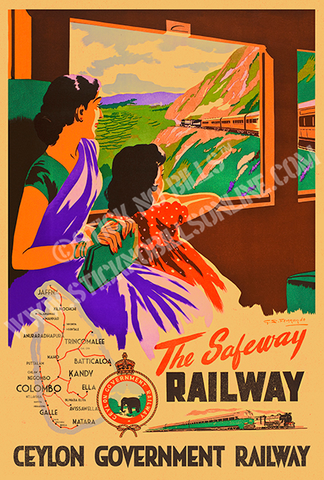 A1 travel poster of a mother and daughter looking out of a window on the Ceylon Safeway Railway train.
