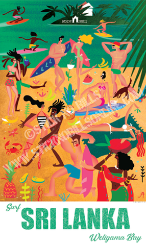 Foiled travel poster of a colourful image of Weligama Bay filled with people having fun whilst others surf.