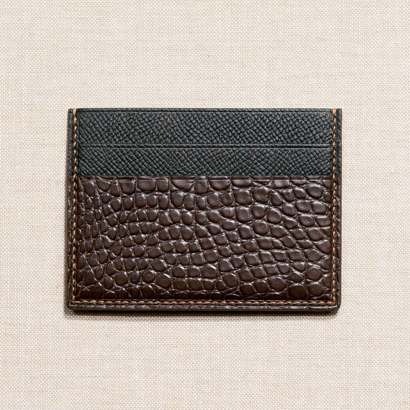 Brown Alligator Handsewn Dual Side Card-keeper