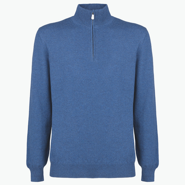 MTO Cashmere Zip Mock Sweater Blue 8543 332