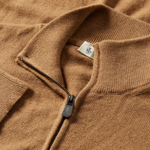 MTO Cashmere Zip Mock Sweater Camel 8543 90459
