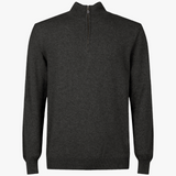 MTO Cashmere Zip Mock Sweater Charcoal 8543 6157