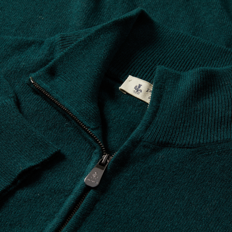 MTO Cashmere Zip Mock Sweater Green 8543 90458
