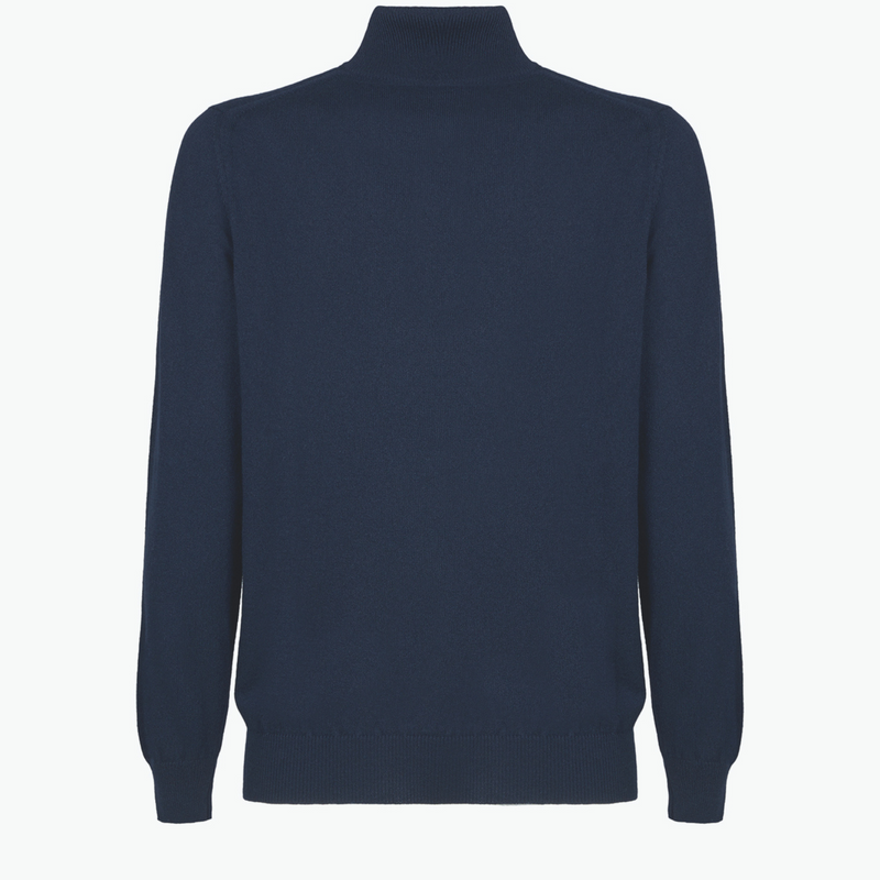 MTO Cashmere Zip Mock Sweater Navy 8543 3223