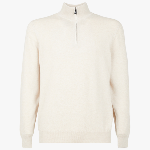 MTO Cashmere Zip Mock Sweater Oatmeal 8543 90103
