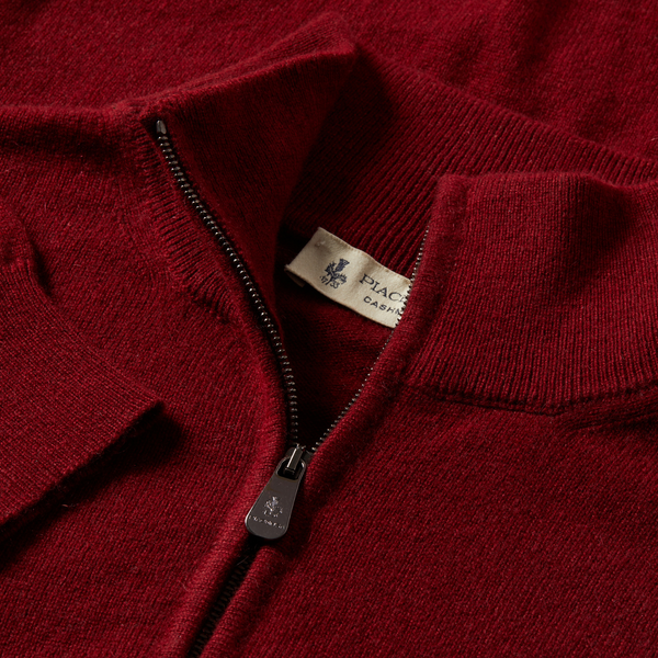 MTO Cashmere Zip Mock Sweater Red 8543 90460