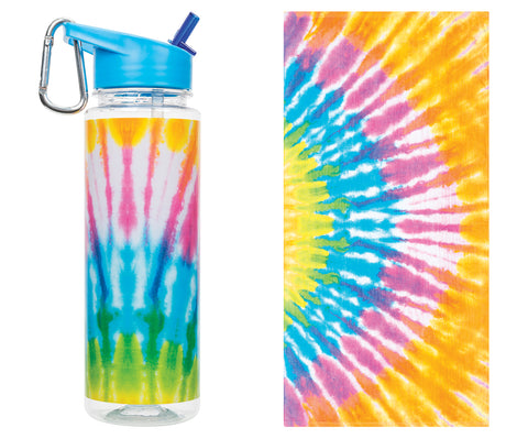 Towel and Water Bottle Set: Tie Dye