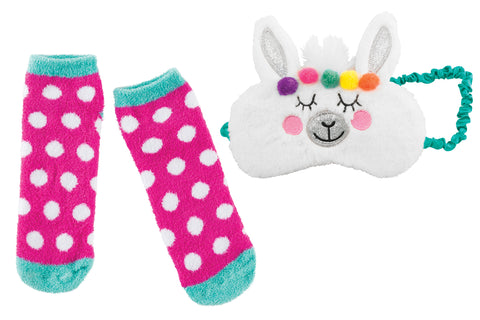 Sleep Mask & Sock Set: Llama