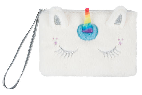 Faux Fur Wristlet: Unicorn