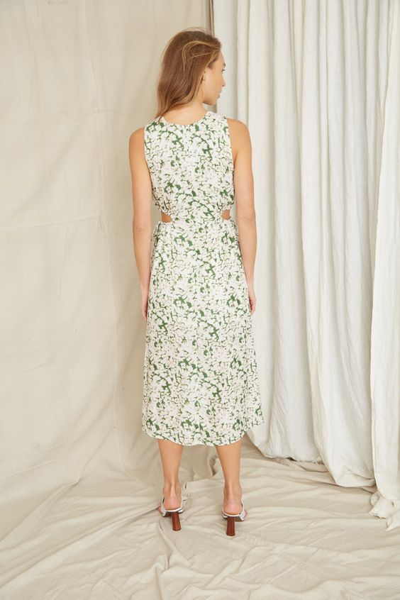 Third Form Pressed Flowers Midi Dress