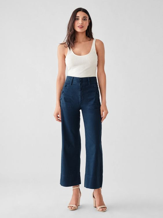 Hepburn High Rise Wide Leg - Sailor
