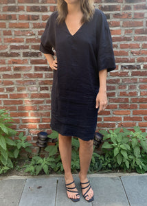 Linen V Neck Cocoon Dress
