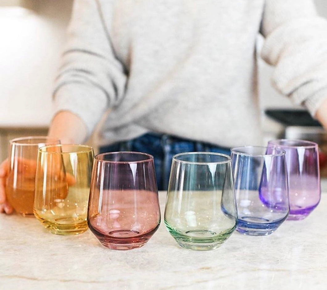 Estelle Colored Glass Stemless 6 Assorted
