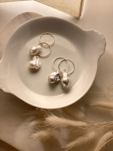 Joie DiGiovanni Baroque Pearl Gold Hoop Earrings
