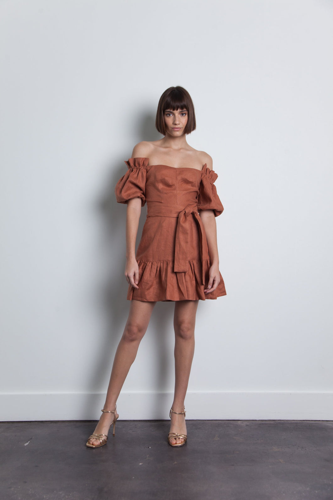 Karina Grimaldi Martha Linen Mini Dress