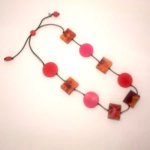 Square and Circle Resin Necklace