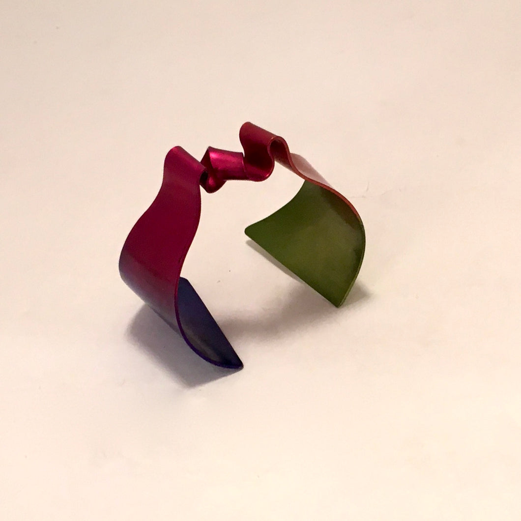 Anodized Aluminum Tapered Ribbon Cuff Bracelet