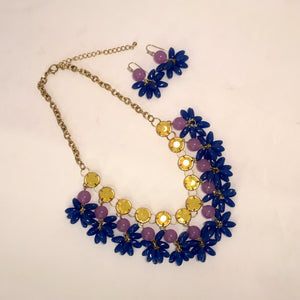 Acrylic Pom Pom Necklace and Earring