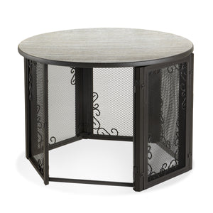 Accent Table Pet Crate in Home with Open Door