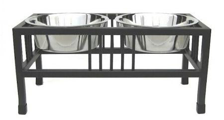 Baron Double Raised Dog Bowl - Small-black