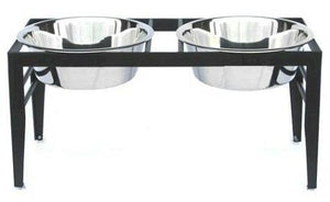 Chariot Double Elevated Dog Bowl - Medium-black