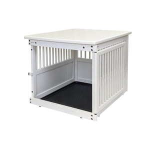 Wood End Table Crate White Open