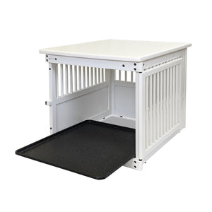 Wood End Table Crate White with Tray