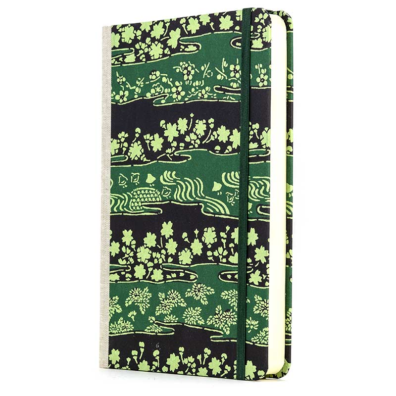 Notizbuch / Green-Flower-on-Black  / Katazome Shi / A5 / liniert /dick