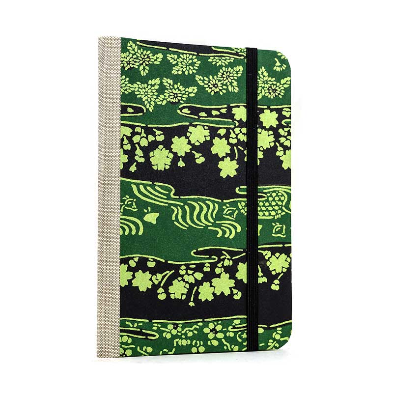 Notizbuch / A6 / liniert / Katazome Shi / Green-Flower-on-Black