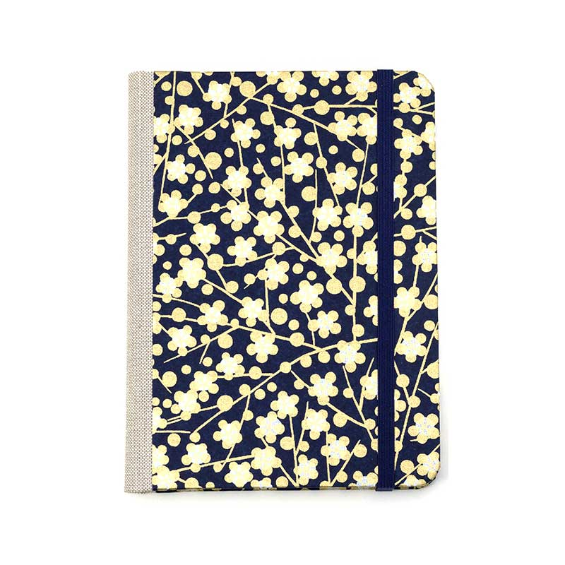 "Skizzenbuch ""Flowers_Gold/White_onBlue"" / Chiyogami / blanko / 12x16,5 cm"