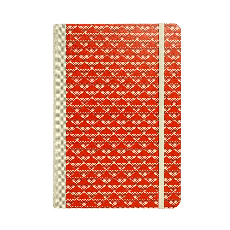 "Skizzenbuch Dotted A5 ""Triangele dotted beige _on Red"" / Lackpapier / Bullet Journal"