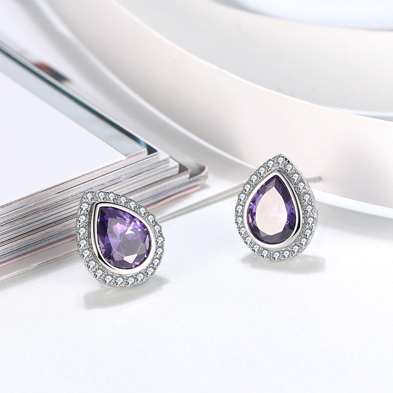 Angel Stud Amethyst Earring