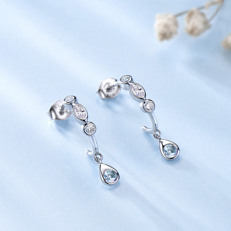 Anniversary Natural Sky Blue Statement Earring