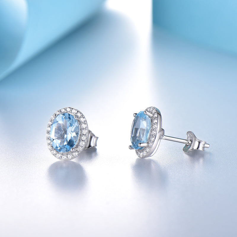 Natural Sky Blue Oval Earring