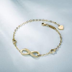White Swarovski Elements Infinite Pendant Chain Bracelet