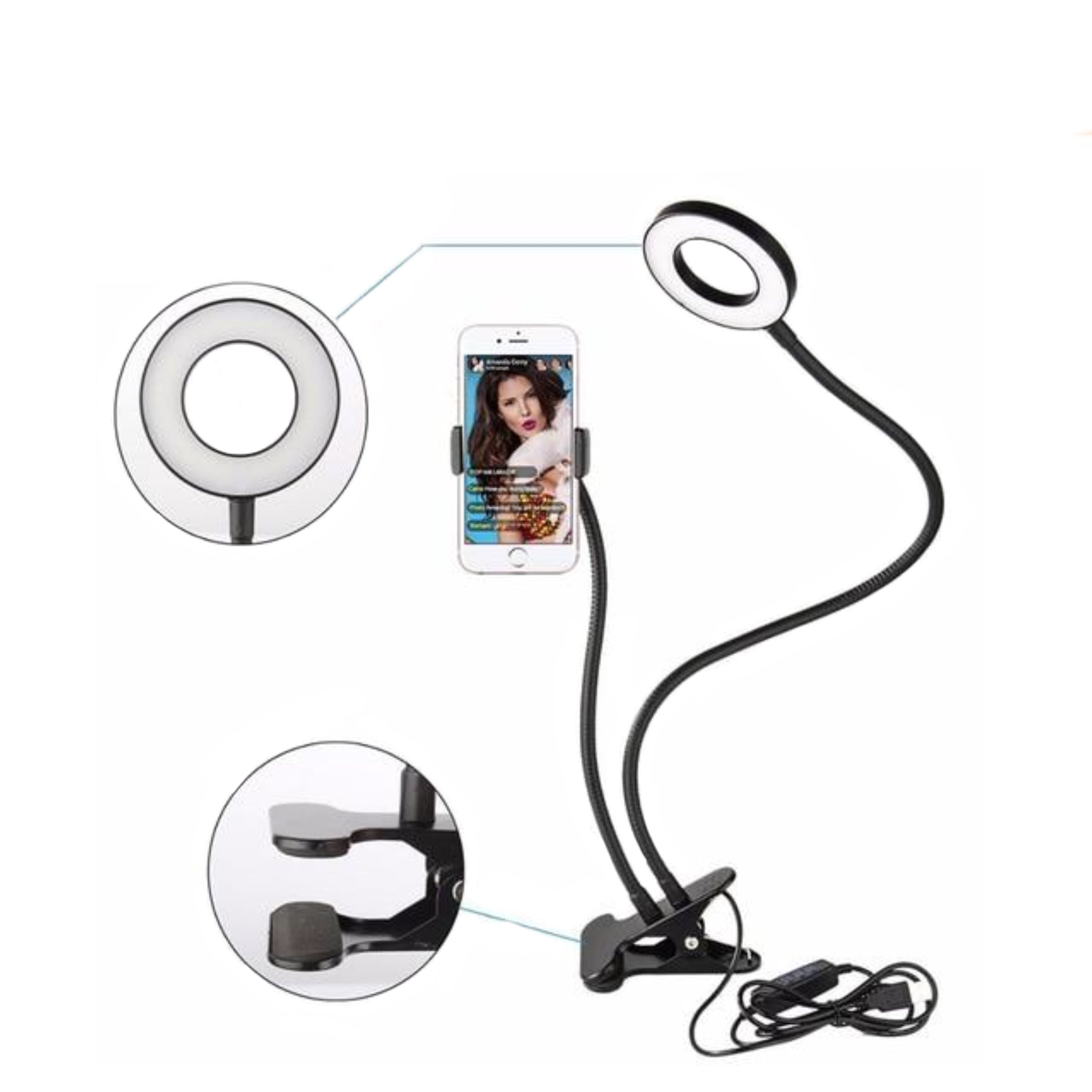 LED Selfie Ring Light for Smartphones (with clip)