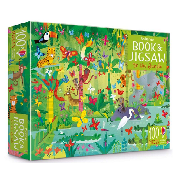 Usborne Book & Jigsaw Puzzle In the Jungle 100 pieces