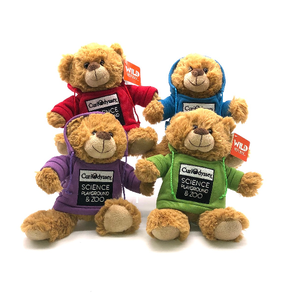 Wild Republic Brown Bear stuffed animal with CuriOdyssey Logo HOODIE