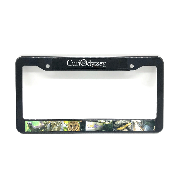 CuriOdyssey Black Frame License Plate