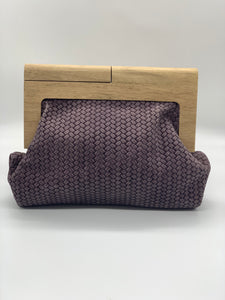 Moy Mauve Leather Weave Clutch