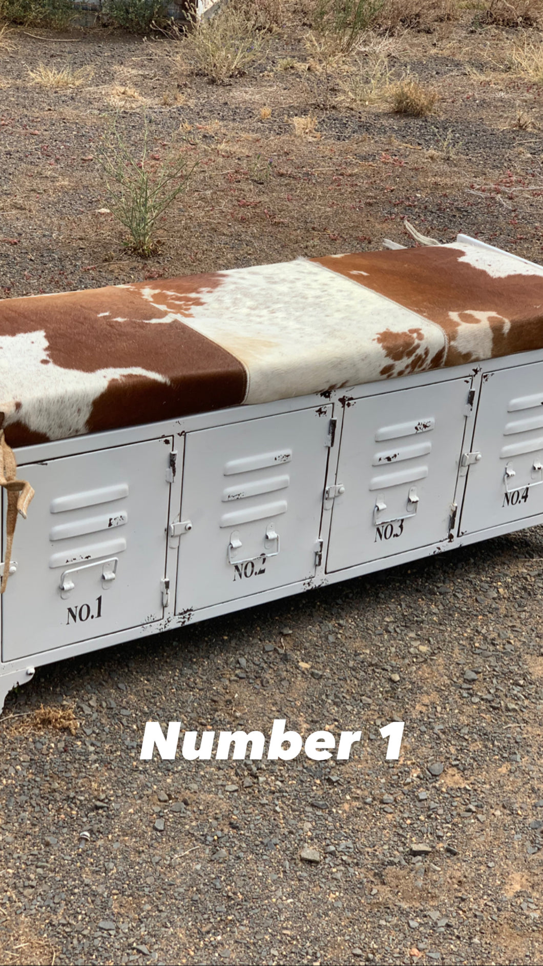 Cowhide and Metal Storage Bench Seat No.1
