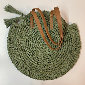 Round Raffia Shoulder Bag