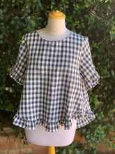 Load image into Gallery viewer, Harper Linen Mix Top in Navy Blue Check