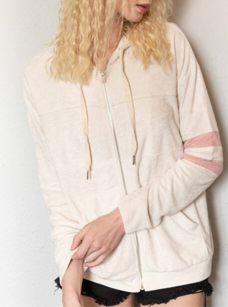 Ella Ivory Zip Up Sweater - La Lune Boutique