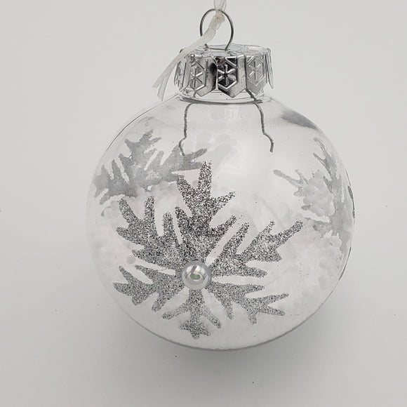 Clear Ball Ornament w/ Silver Glitter Snowflakes