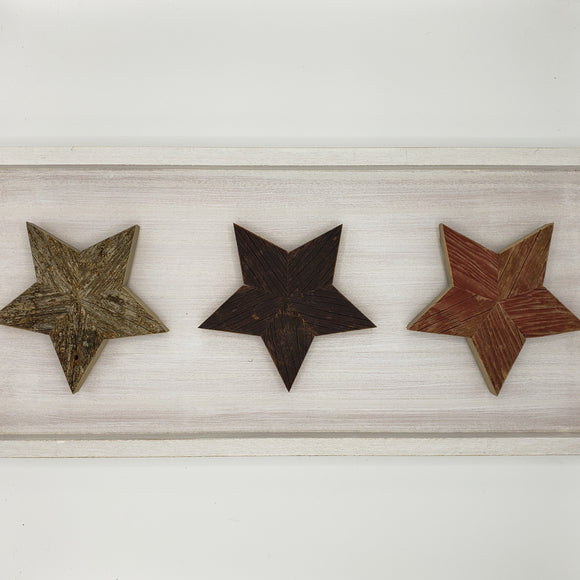 Legacy Wood Art 3 Stars in White Frame