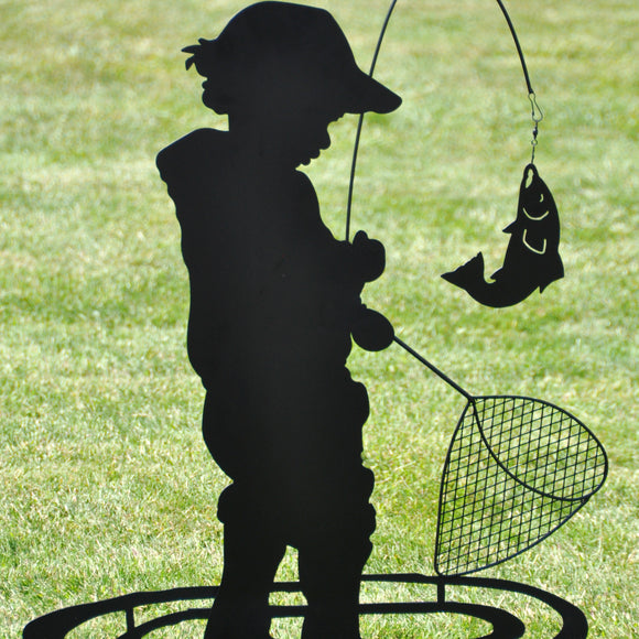 Boy Fishing Metal Stake