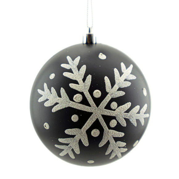 Ball Ornament Black Matte w/ White Snowflake