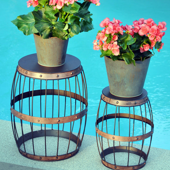 Metal Wire Barrel Patio Stand