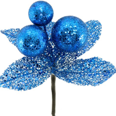 Ball Pick w/ Blue Leaves and Glitter